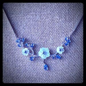 Silver Herringbone Tanzanite Necklace